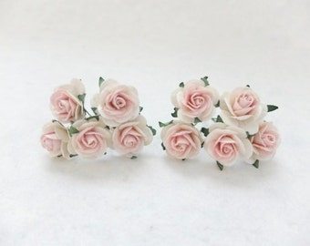 10 25mm off white pink mulberry roses