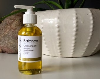 Organic Balancing Cleansing Oil. Geranium, Neroli, Borage. Oily, Combination, Acne Prone. Natural Organic Skin Care. Vegan.