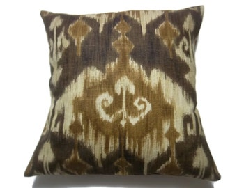 Decorative Pillow Cover Ikat Design Dark Brown Camel Beige Same Fabric Front/Back Toss Throw Accent 18x18 inch