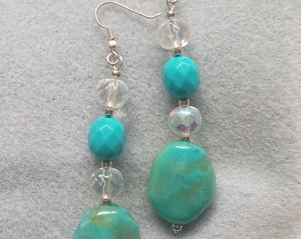 SALE! Turquoise and Crystal Bead Earrings