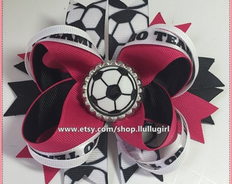 Soccer Hair Bow, Customized your Hair Bow Choose Your Color to Match Team, Boutique Hair Bows