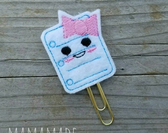Notebook Paper Feltie - Planner Clip, Magnet or Hairclip (bookmark, planner or journal clip)