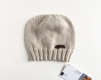 Tan beanie with leather patch