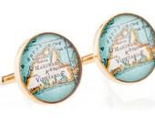 Martha's Vineyard Cufflinks  Bronze Antique Map Vintage Globe Cuff Links Gift for Him