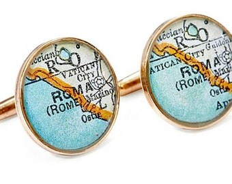 Rome Cufflinks  Bronze Antique Italy Map Vintage Globe Cuff Links