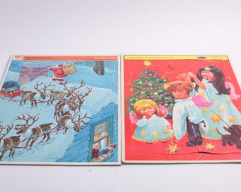 Whitman Christmas Tray Puzzles, Night Before Christmas, Set of Two