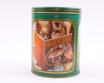 Vintage Purina Biscuts Dog Food Tin 1980s Kitchen Decor