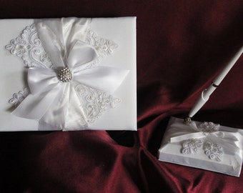White Guest Book and Pen Set