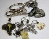 Hand Made Stitch Markers with a Key Chain -- Elephant Love