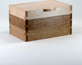 Jewelry Box, Keepsake Box, Spalted Maple Wood, Quarter Sawn Oak Wood, Birds Eye Maple Wood