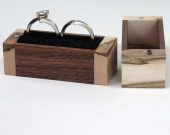 Two Ring Box, One Ring Box, Maple Wood and Walnut Wood Ring Box, Ring Bearer Pillow Box
