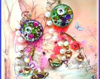 Bubble Tea Mixed Media Necklace Shaker Pendant Fun Fashion Bubbly Eclectic Whimsical Colorful Romantic Purple or Green Long Dangle Pendant