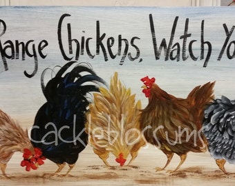 "11"" X 22"" #412 Chicken Art on Wood Original Chickens Sign"