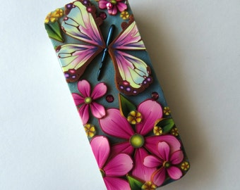 Pastel Butterfly Slide Top Tin, Sewing Needle Case, Polymer Clay Covered Tin, Magnetic Needle Case