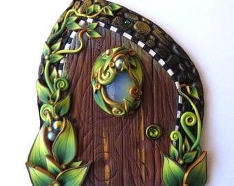 Green Garden Fairy Door with an Opalite Orb