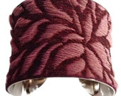 Burgundy Floral Laser Etched Goatskin Leather Cuff Bracelet - by UNEARTHED
