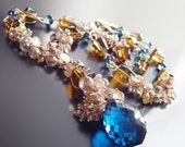 ON SALE 15% OFF Custom Made To Order - London Blue Topaz Statement Necklace With Champagne Topaz, Imperial Topaz, Golden Rutilated Quartz
