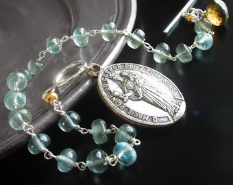 Moss Aquamarine Rosary Charm Bracelet with Vintage Medallion, Topaz, and Sterling Silver