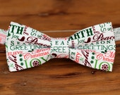 Boys Bow Tie - red green Christmas holiday words on white cotton bowtie, boys Christmas bow tie, holiday bow tie, baby toddler child preteen