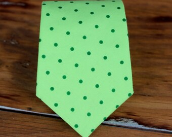 St Patricks Day Boys Necktie - green on green dot cotton necktie for boy - infant baby toddler child preteen - Christmas Easter holiday tie