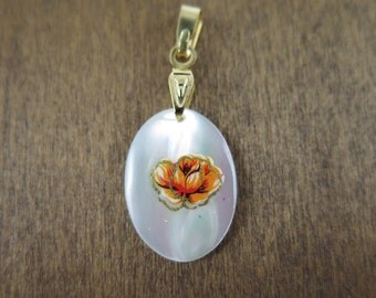 Vintage Gold Plated Mother Of Pearl Oval Charms with Orange Rose Decal (2X) (NS519)