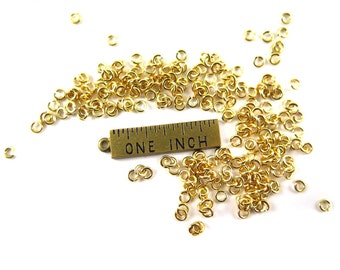 Tiny Gold Plated Round Jump Rings (12 grams - approximately 525x) (3mm) (K850-B)
