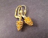 Pretty Pine Cones, Gold Drop Earrings, Pinecone Dangle Earrings, FREE Shipping U.S.