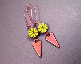 Green Picasso Glass Earrings, Chartreuse Flowers, Copper Arrowhead Earrings, Long Dangle Earrings, FREE Shipping U.S.