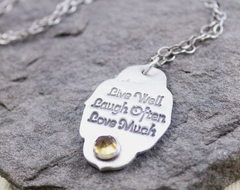 Live Well Laugh Often Love Much Necklace With Faceted Citrine
