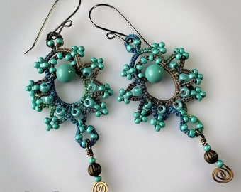 Lace earrings turquoise boho chic handmade tatting hand dyed thread with beads and Swarovski crystal pearls wire wrapped dangle