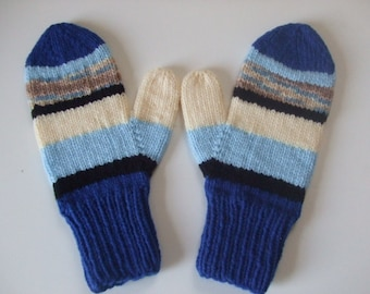 Hand Knit Mittens - The Blues - for Ladies/Teens