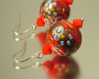 Vintage/ estate jewelry retro silver plated earrings made from old red wedding cake glass beads - upcycled jewellery
