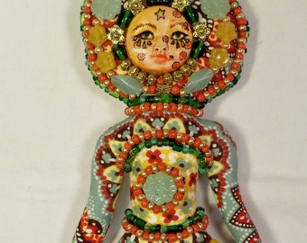 OOAK Groovy Beaded Fantasy cloth art doll 12 in. Mint, Deep Coral, Mustard Yellow and Green