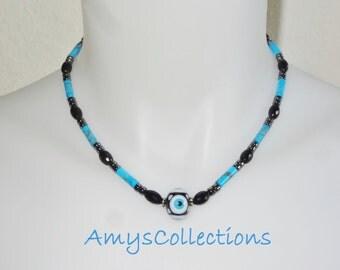 Genuine Turkish Protective Evil Eye Necklace, Turquoise Blue Howlite