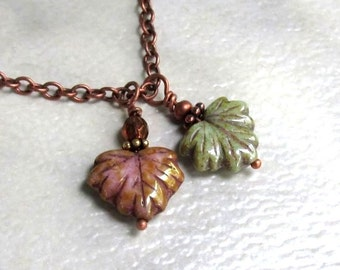 Glass Maple Leaf Pendant, Sage Green or Rose Brown Picasso Glass on Antique Copper Necklace... Choose Your Length