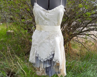 Clearance  Doily Dress Altered Couture Alternative Bridal Wedding Dress Gown Upcycled Shabby Chic