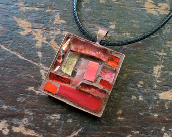 Red Orange Coral Pendant with Copper Bezel