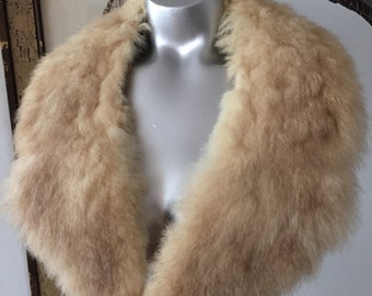 Large and Soft Cream Colored Fur Collar with Lining
