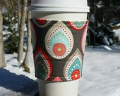 FREE SHIPPING UPGRADE with minimum -  Reusable coffee cozy / cup sleeve / coffee sleeve / coffee cup holder - Teardrops