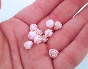 12 palest pink 7.5mm rose cabochons, small round resin flower cabs