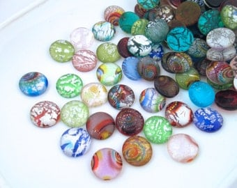 14mm Dichroic Glass Crackle Cabochons, Metallic Foil Cracked Glass Cabochons