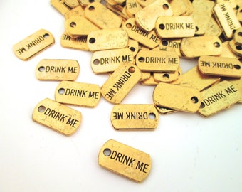 "Gold Plated ""Drink Me"" Charms, Pick Your Amount, G217"