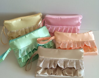 Set of 5 Lace Pastel Color One of a kind Personalized Bridesmaids Ruffled Wristlets