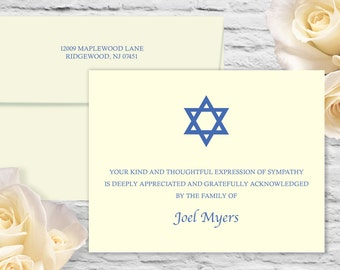Simple Star of David Sympathy Flat Card with Printed Envelope - Ivory