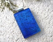 Fused Glass Pendant, Royal Blue Necklace, Blue Pendant, Dichroic Necklace, Fused Glass Jewelry, Dichroic Jewelry, Silver Necklace,070616p106