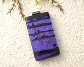 Purple & Black Necklace, Dichroic Jewelry, Fused Glass Jewelry, Glass Pendant, Dichroic Glass Necklace, Silver Necklace,  020616p100