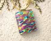 Pink Blue Green Necklace, Fused Glass Pendant, Dichroic Fused Glass Jewelry, Golden  Pink Pendant, Gold Necklace, Glass Jewelry 020616p101