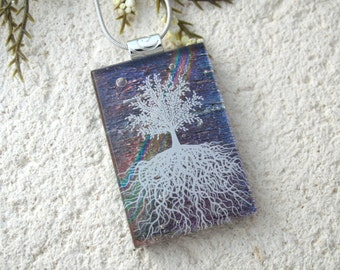 Tree of Life, Fused Glass Jewelry, Dichroic Pendant, Dichroic Jewelry, Rooted Tree, Purple Rainbow, Nature Jewelry, Silver Chain, 061216p100