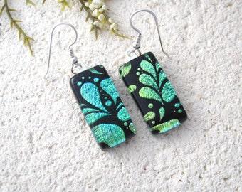Aqua Green Earrings, Dangle Drop Earring, Dichroic Earrings, Fused Glass Jewelry, Earrings, Dichroic Jewelry, Sterling Silver, 082316e102