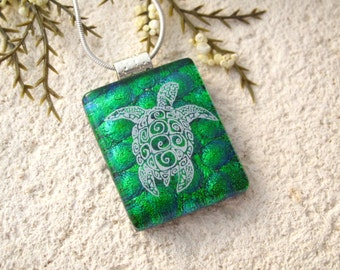 Turtle Necklace, Sea Turtle Necklace, Fused Glass Pendant, Dichroic Glass Jewelry, Fused Glass Jewelry, Green & White Necklace, 092216p100